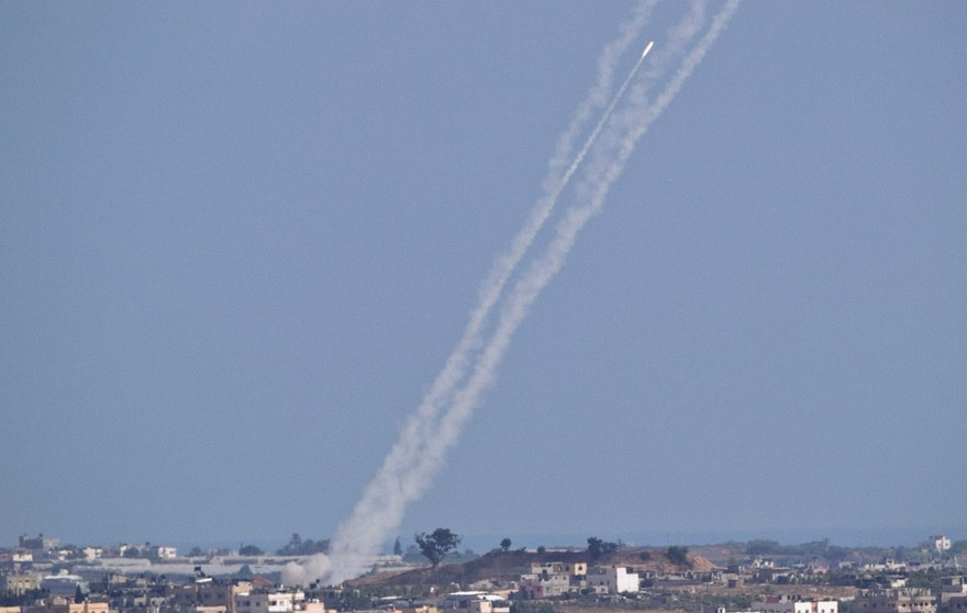 July 16, 2014 - FILE photo of a rocket fired by Palestinian militants from inside the Gaza Strip into central Israel, seen from Israel Gaza Border.  A much-awaited UN report into the 2014 Gaza war released Monday, found that both Israel and Palestinian militant groups may have committed war crimes during the conflict.