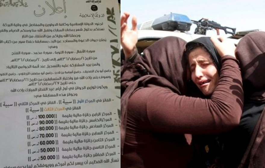 An ISIS bulletin circulated on Twitter, (l.), lists prizes for a Koran memorization contest. The numerals are for money prizes, but above them are listed the top prizes - female slaves. (Clarion Project, Reuters)