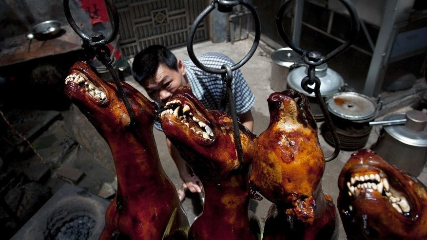 In this Sunday, June 21, 2015 photo, a man roasts dogs at a restaurant in Yulin in south China's Guangxi Zhuang Autonomous Region. Restaurateurs in a southern Chinese town are holding an annual dog meat festival despite international criticism. (Chinatopix via AP) CHINA OUT
