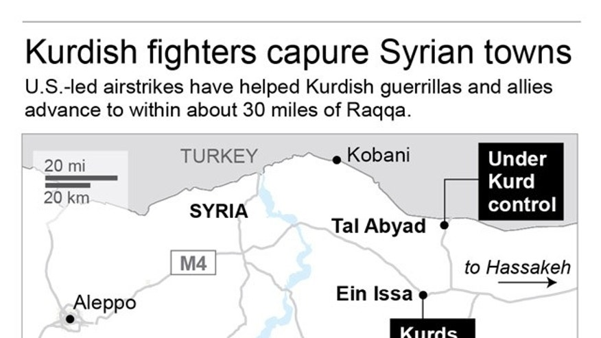 Map shows area captured by Syrian Kurdish fighters and their allies.; 2c x 4 inches; 96.3 mm x 101 mm;