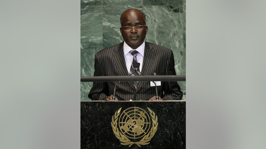 FILE - In this Monday, Sept. 20, 2010 file photo, Gervais Rufyikiri, Second Vice-President of the Republic of Burundi, addresses a summit on the Millennium Development Goals at United Nations headquarters. Rufyikiri said Thursday, June 25, 2015 that he has fled the country fearing for his life after opposing the president's controversial bid for a third term that has sparked off violent protests in the capital in recent weeks. (AP Photo/Frank Franklin II, File)