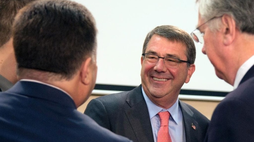 Ukraine's Defense Minister Stepan Poltorak, left, speaks with United States Defense Minister Ashton Carter, center, during a meeting of the NATO-Ukraine Commission at NATO headquarters in Brussels on Thursday, June 25, 2015. NATO defense ministers meet for a second day of sessions to discuss, among other issues, the situation in Ukraine. (AP Photo/Virginia Mayo)