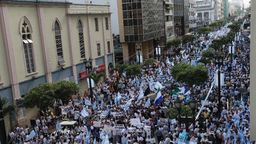 Thousands of demonstrators march with the flags of Guayaquil during an opposition march called by Guayaquil's mayor Jaime Nebot to protest against policies of President Rafael Correa in Guayaquil, Ecuador, Thursday, June 25, 2015. Speaking to a crowd stretching in to the distance, Nebot said the president's economic policies are harmful and threaten to throw the country into turmoil. He warned of following the path of socialist-government Venezuela, where many goods are in short supply and prices are soaring. (AP Photo/Dolores Ochoa)