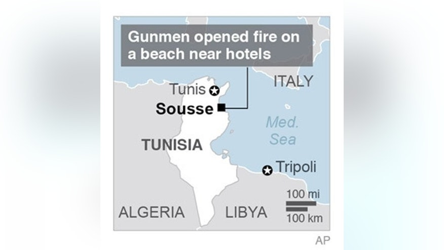 Map locates Sousse, Tunisia, where gunmen killed several people.; 1c x 3 inches; 46.5 mm x 76 mm;