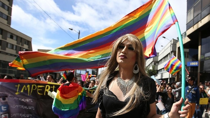 A reveler holds a gay pride flag during the gay pride parade in Bogota, Colombia, Sunday, June 28, 2015. Thousands paraded through the streets of Bogota and called for a law granting social security and matrimonial rights for gay couples. (AP Photo/Fernando Vergara)