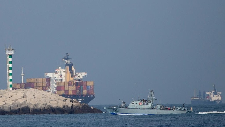 An Israeli naval battle ship sails in the Mediterranean sea back to Ashdod port in Israel, Monday, June 29, 2015. Israel's navy intercepted a vessel attempting to breach a naval blockade of Gaza early Monday and was redirecting it to an Israeli port, the military and the activists said. (AP Photo/Ariel Schalit)