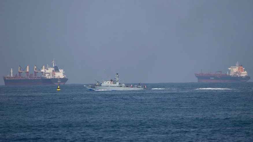 An Israeli naval battle ship sails in Mediterranean sea back to Ashdod port in Israel, Monday, June 29, 2015. Israel's navy intercepted a vessel attempting to breach a naval blockade of Gaza early Monday and was redirecting it to an Israeli port, the military and the activists said.(AP Photo/Ariel Schalit)