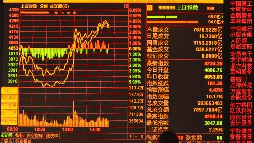 In this photo taken Tuesday, June 30, 2015, a stock investor watches the screen at a brokerage house in Fuyang in central China's Anhui province. Chinese authorities are scrambling to reassure jittery investors after soaring stock markets plunged, threatening to set back economic reform plans. The market benchmark soared 150 percent from the start of the boom late last year in one of the world's fastest runups. It hit a peak June 12 and then reversed course and plunged 28 percent. It rebounded temporarily Tuesday, June 30,  before losing 5.2 percent on Wednesday, July 1.  (Chinatopix Via AP) CHINA OUT