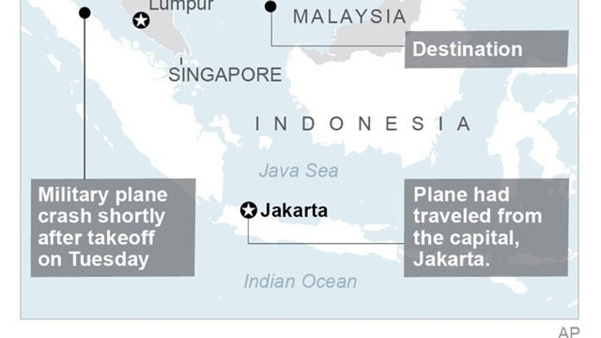 Map locates plane crash, Indonesia.; 2c x 3 inches; 96.3 mm x 76 mm;