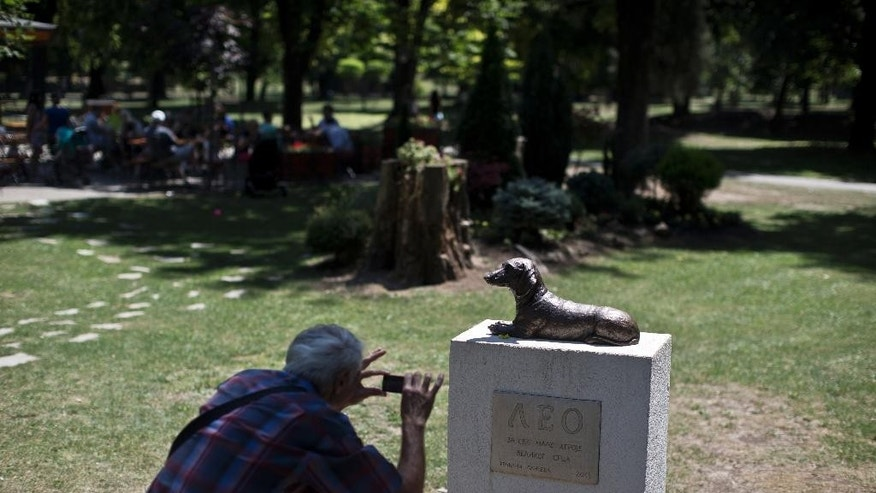 "A man takes a photo of the monument to Leo, a dachshund that defended a child from an attack by another dog, at a public park in Pancevo, 12 kilometers east of Belgrade, Serbia, Friday, July 3, 2015. When a raging bull-mastiff cross-breed last year attacked a ten-year-old girl, Leo fearlessly jumped to her rescue, barking and biting at the dog way above his size and strength. Leo paid his courage with his life, but the citizens of a northern Serbian town have made sure he is not forgotten. The engraving on the monument reads: ""Leo, to all the small heroes with big hearts"" in Serbian. (AP Photo/Marko Drobnjakovic)"