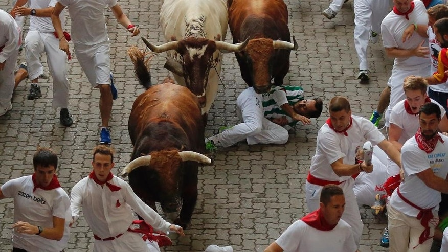 A reveler falls while others run with a Jandilla's ranch fighting bull during the running of the bulls of the San Fermin festival in Pamplona, Spain, Tuesday, July 7, 2015. Revelers from around the world turned out here to kick off the festival with a messy party in the Pamplona town square, one day before the first of eight days of the running of the bulls. (AP Photo/Daniel Ochoa de Olza)