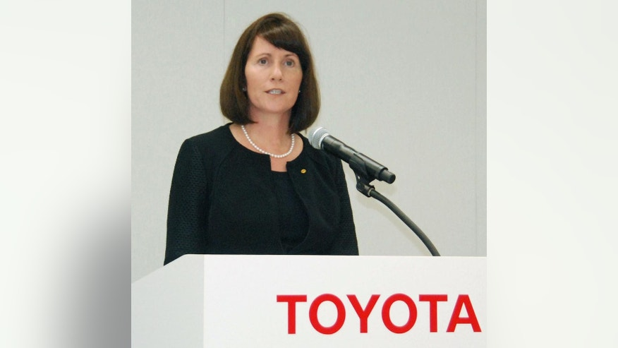 FILE - In this July 17, 2015 file photo, Toyota Motor Corp.'s head of public relations Julie Hamp speaks during a press conference in Toyota, central Japan. Japan's Kyodo News says the American Toyota executive who was arrested last month on suspicion of drug law violations is expected to be released Wednesday, July 8 without being prosecuted. (Tsutomu Agechi/Kyodo News via AP, File) JAPAN OUT, CREDIT MANDATORY