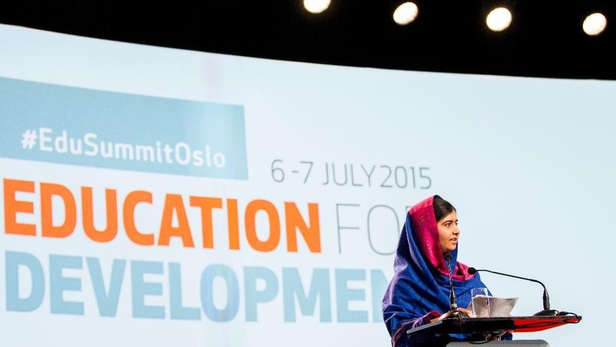 Nobel Peace Prize winner Malala Yousafzai speaks during the Oslo Summit on Education for Development at Oslo Plaza in Oslo, Norway, Tuesday, July, 7, 2015. (Vegard Wivestad Grott/NTB Scanpix via AP)      NORWAY OUT