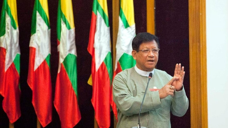 In this June 8, 2015 photo, Myanmar Union Election Commission chairman Tin Aye speaks during a meeting with the media at Myanmar Peace Center in Yangon, Myanmar. General election seen as a crucial next step for Myanmar's transition to democracy has been scheduled for Nov. 8. The announcement signed by Tin Aye was posted Wednesday, July 8, 2015 on the commission's website. (AP Photo/Khin Maung Win)