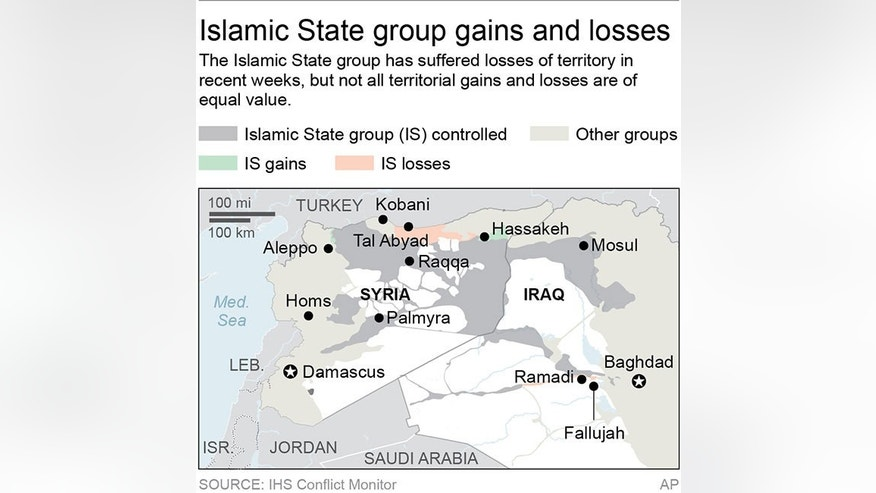 Map locates the Islamic State group's area of control and territorial gains and losses in Syria and Iraq; 2c x 3 1/4 inches; 96.3 mm x 82 mm;
