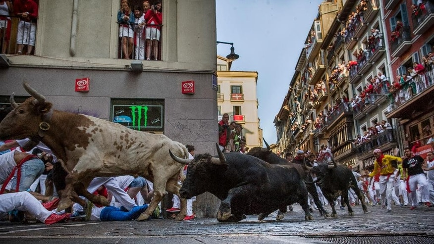 Conde de la Maza fighting bulls run after revelers during the running of the bulls at the San Fermin festival in Pamplona, Spain, Sunday, July 12, 2015. Revelers from around the world arrive to Pamplona every year to take part in some of the eight days of the running of the bulls. (AP Photo/Andres Kudacki)