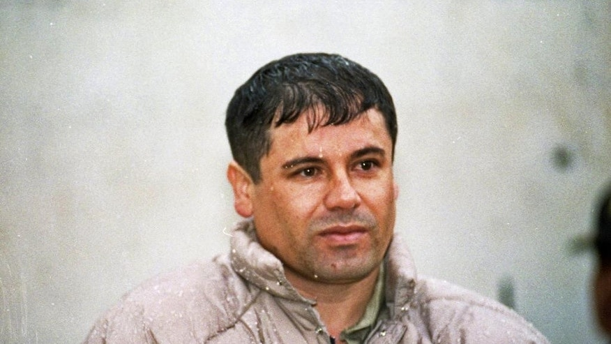 "FILE  - In this June 10, 1993 file photo, Joaquin Guzman Loera, alias ""El Chapo Guzman"" is shown to the press after his arrest at the high security prison of Almoloya de Juarez, outskirts of Mexico City. Mexico's security commission has announced early Sunday July 12, 2015 that top drug lord Joaquin 'El Chapo' Guzman has escaped from a maximum security prison for the second time. The commission said a search operation was being set into motion in the surrounding area and flights have been suspended at Toluca airport near the penitentiary outside Mexico City. (AP Photo/Damian Dovarganes, file)"