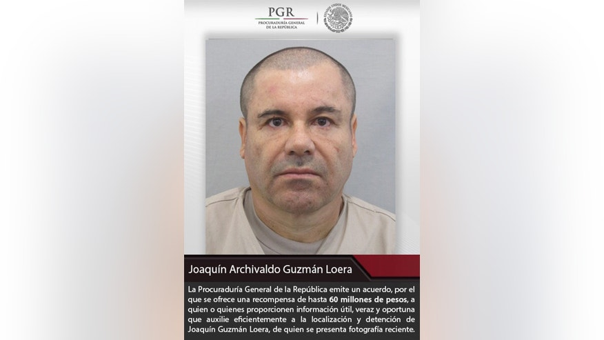 "This poster provided by Mexico's attorney general, shows the most recent image of drug lord Joaquin ""El Chapo"" Guzman before he escaped from the Altiplano maximum security prison in Almoloya, west of Mexico City, Sunday, July 12, 2015. The Mexican government is offering a 60 million pesos (about $4 million dollars) reward for information leading to his capture, after Guzman, escaped from the maximum security prison through a mile long tunnel that opened into the shower area of his cell. (Mexico's Attorney General's Office via AP)"