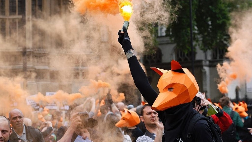 Protestors dressed as foxes demonstrate in front of the Houses of Parliament in London, Tuesday, July 14, 2015 urging policymakers to keep Britain humane by keeping the Hunting Act intact. The government has called off the scheduled vote for Wednesday on fox hunting. (AP Photo/Frank Augstein)