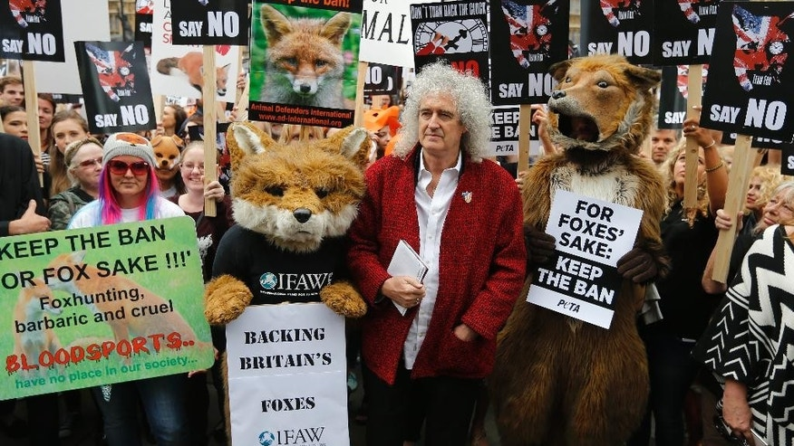 Queen guitarist and committed animal campaigner Brian May, right joins protestors dressed as foxes in a demonstration in front of the Houses of Parliament in London, Tuesday, July 14, 2015 urging policymakers to keep Britain humane by keeping the Hunting Act intact. The government has called off the scheduled vote for Wednesday on fox hunting. (AP Photo/Frank Augstein)