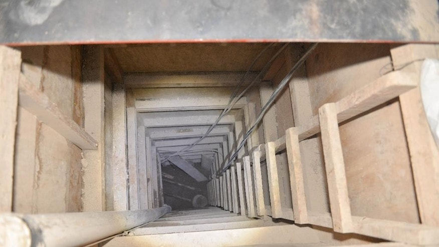 "The exit of the tunnel that according to authorities was used by Mexican drug lord Joaquin ""El Chapo"" Guzman, to escape from the Altiplano maximum security prison is seen in Almoloya, Mexico, Tuesday, July 14, 2015. A widespread manhunt that included highway checkpoints, stepped up border security and closure of an international airport failed to turn up any trace of  Guzman after he escaped through an underground tunnel leading from his prison cell's shower area. (AP Photo/Mario Vazquez de la Torre)"