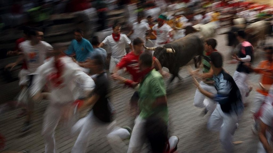 Revelers run alongside Miura's ranch fighting bulls during the daily morning running of the bulls of the San Fermin festival in Pamplona, Spain, Tuesday, July 14, 2015. Revelers from around the world arrive in Pamplona every year to take part in some of the eight days of party and the running of the bulls. (AP Photo/Daniel Ochoa de Olza)