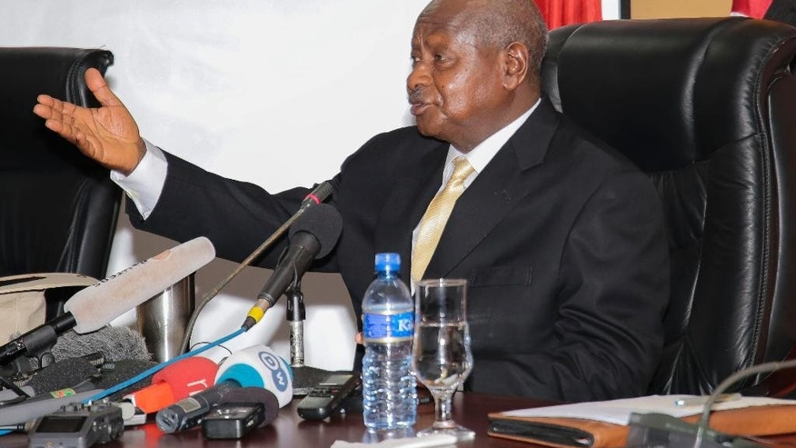President of Uganda Yoweri Museveni, reacts during a meeting in Bujumbura, Burundi, Tuesday, July 14, 2015. Uganda's president has started mediating talks between Burundi's government and opposition groups that are opposed to President Pierre Nkurunziza's controversial bid for a third term. (AP Photo/Berthier Mugiraneza)