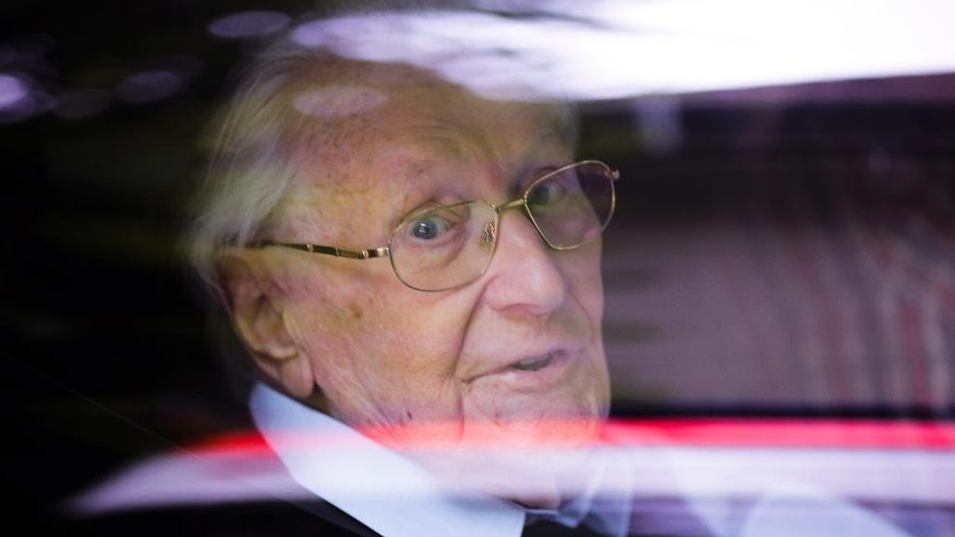 Former SS sergent Oskar Groening arrives for the judgement at the trial against him in in Lueneburg, Germany Wednesday, July 15, 2015. Groening, 94, who is accused of helping to operate the death camp Auschwitz between May and June 1944, has been convicted on 300,000 counts of accessory to murder. The state court gave Oskar Groening a four-year sentence. (AP Photo/Markus Schreiber)