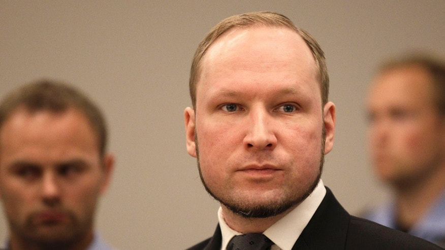 Aug. 24, 2012: Anders Behring Breivik listens to the judge in the courtroom, in Oslo, Norway.