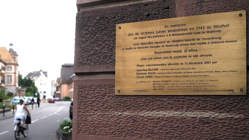 July 20, 2015 - A plaque in memory of 86 Jews killed for Nazi  medical experiments at the university of Strasbourg during World War II,  at the entrance of the anatomy school in Strasbourg, eastern France. The remains of Jewish gas chamber victims subjected to Nazi anatomy experiments have been traced to a medical research facility in the eastern French city of Strasbourg.
