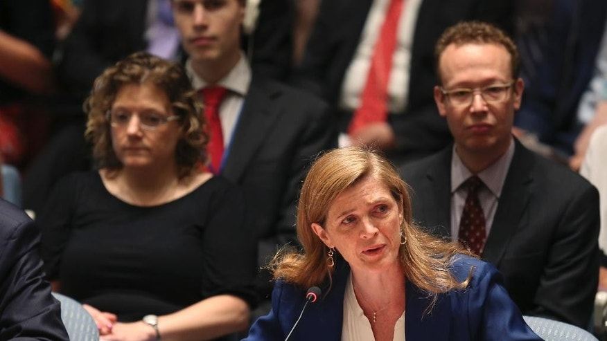 Samantha Power, United States Ambassador to the United Nations, speaks after a vote in the Security Council at U.N. headquarters, Monday, July 20, 2015. The U.N. Security Council unanimously endorsed the landmark nuclear deal between Iran and six world powers and adopted a series of measures leading to the end of U.N. sanctions that have hurt the Iranian economy. (AP Photo/Seth Wenig)