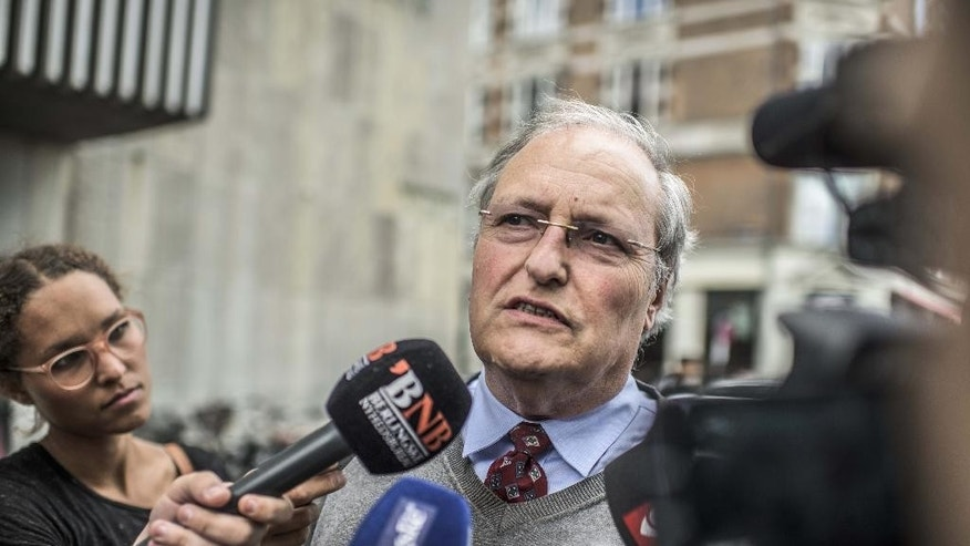 Nazi hunter Efraim Zuroff talks to the media outside a Copenhagen Police Station in Copenhagen, Denmark, Tuesday, July 21, 2015.Nazi hunter Ephraim Zuroff of the of the Simon Wiesenthal Center has asked Denmark to investigate a 90-year-old Dane suspected of being involved in the mass murder of Jews in Belarus during World War II .   (Anthon Unger/POLFOTO via AP) DENMARK OUT