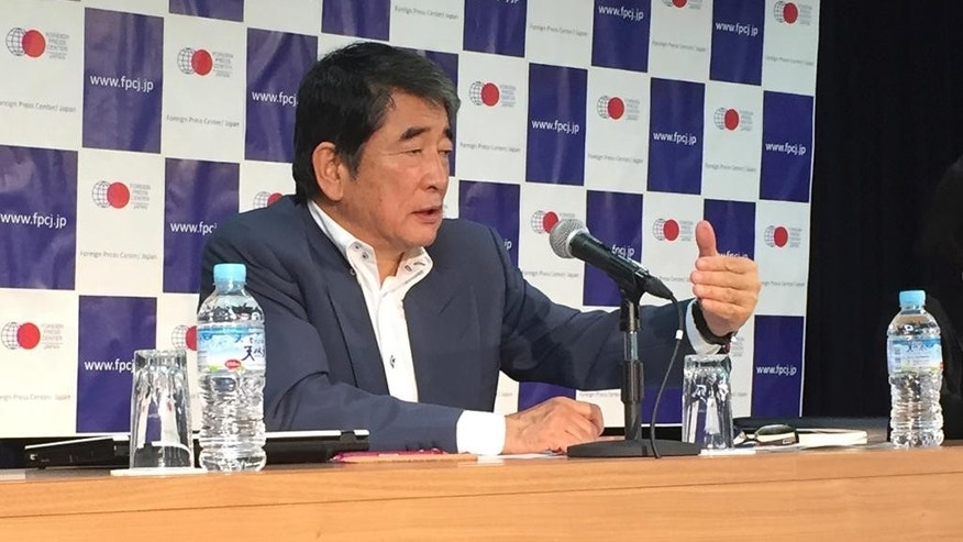 Yukio Okamoto, an outside director of Mitsubishi Materials, speaks to the foreign media in Tokyo Wednesday, July 22, 2015. Okamoto said that the company hopes to apologize to former British, Dutch and Australian World War II POWs, and also reach an amicable solution with Chinese forced laborers, following a landmark apology to American POWs earlier this week. (AP Photo/Ken Moritsugu)