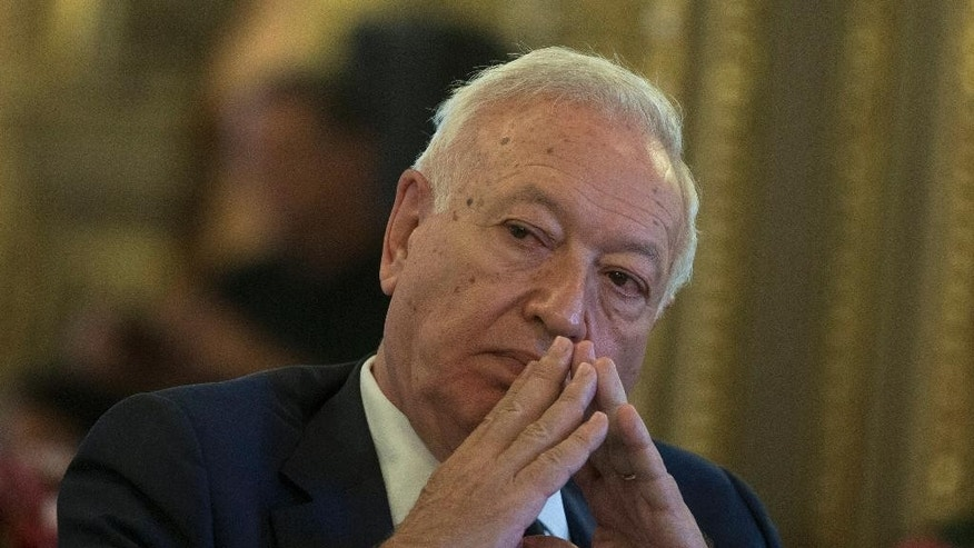 Spain's Foreign Minister Jose Manuel Garcia-Margallo pauses after speaking about three missing Spanish journalists in Syria during a conference in Madrid, Spain, Wednesday, July 22, 2015. Spain says it is trying to establish what happened to three Spanish freelance journalists reported to have gone missing around the embattled northern Syrian city of Aleppo and that it will contact the government in Damascus over the case. (AP Photo/Paul White)