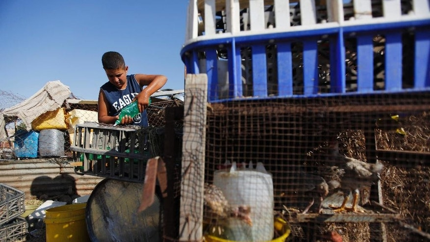 In this Tuesday, July 21, 2015, photo, a Palestinian boy pours water for birds in the village of Susiya, south of the West Bank city of Hebron. Residents of this dusty village are bracing for Israeli bulldozers to come and knock down their makeshift homes of tarp, wood and wire any day now. But as they wait for the military order to be carried out, villagers are rallying support from Western governments. (AP Photo/Majdi Mohammed)