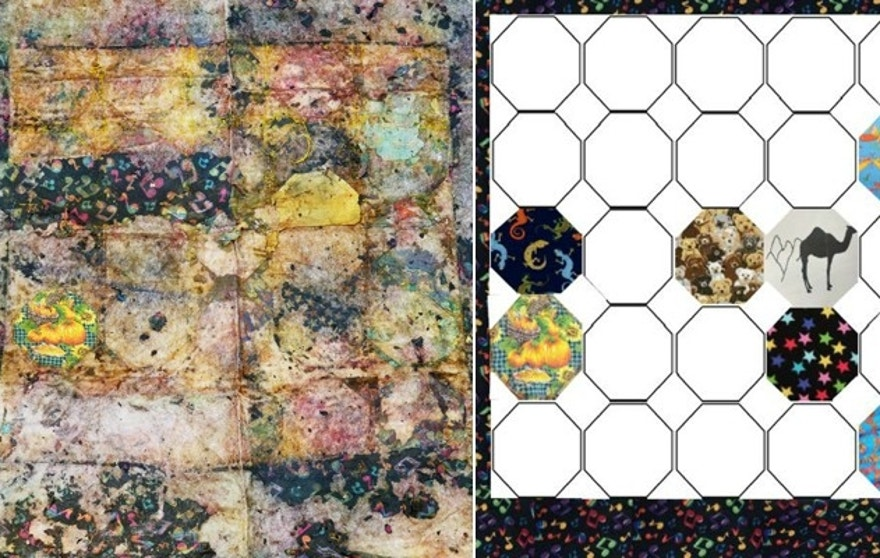 The faded quilt, pictured left, was found with the child's remains on July 15. Australian authorities were able to identify several of the quilt's distinct patches in an image, right.