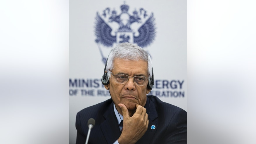 Secretary General of Organization of Petroleum Exporting Countries (OPEC) Abdalla Salem El-Badri of Libya talk to the media after talks with Russian Energy Minister Alexander Novak in Moscow, Russia, Thursday, July 30, 2015. The Russian energy minister was meeting on Thursday with top officials from the OPEC as lower oil prices continued to batter Russia's economy and the currency.(AP Photo/Ivan Sekretarev)