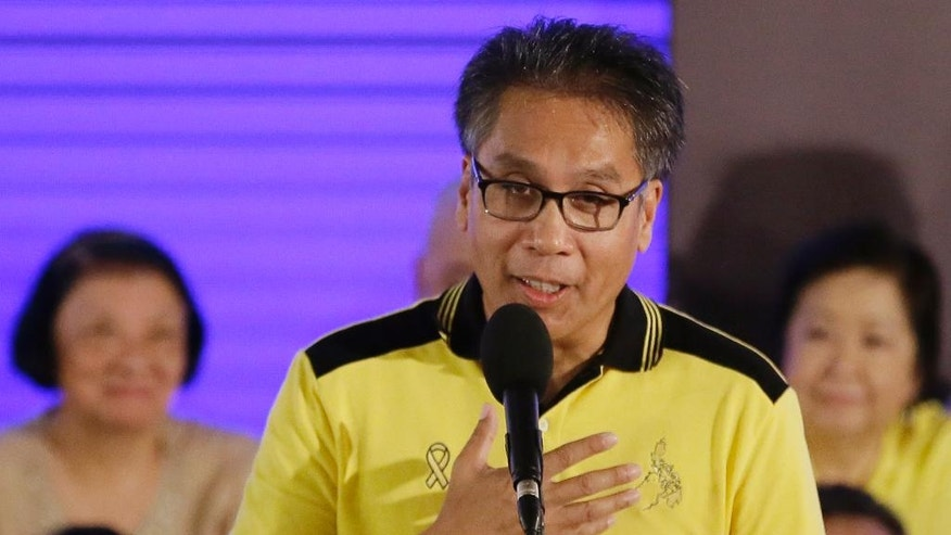 "Interior Secretary Manuel ""Mar"" Roxas II gives his acceptance speech shortly after Philippine President Benigno Aquino III endorsed him as the administration's standard bearer for the May 2016 presidential elections, Friday, July 31, 2015 at the historic Club Filipino in suburban San Juan, east of Manila, Philippines. The 58-year-old former congressman and senator said he was honored to be endorsed by Aquino of the dominant Liberal Party. (AP Photo/Bullit Marquez)"
