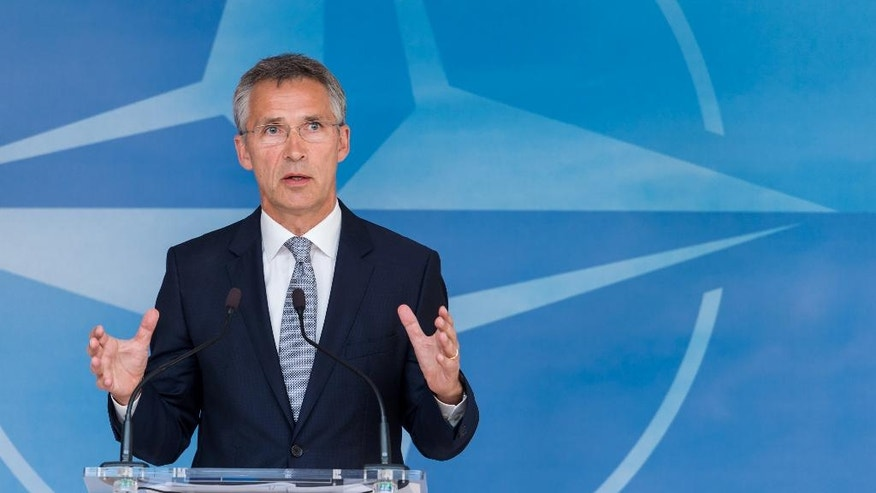 NATO Secretary General Jens Stoltenberg addresses the media after a North Atlantic Council Meeting at NATO headquarters in Brussels on Tuesday July 28, 2015.  For just the fifth time in its 66-year history, NATO ambassadors met in emergency session Tuesday to gauge the threat the Islamic State extremist group poses to Turkey, and the debated actions Turkish authorities are taking in response. (AP Photo/Geert Vanden Wijngaert)