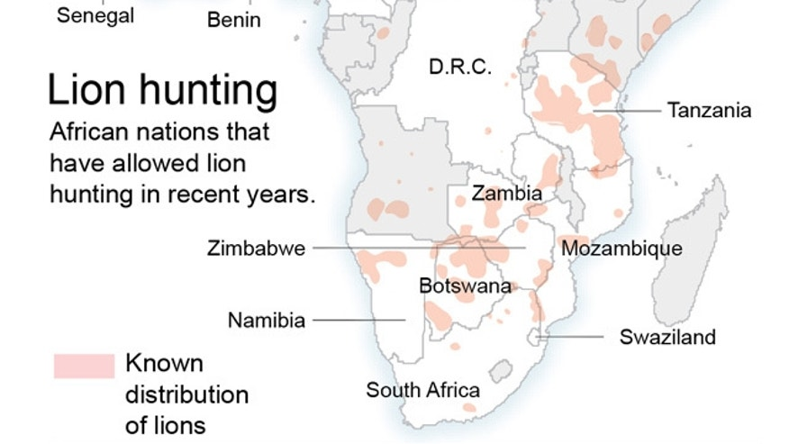 Map shows hunting of lions in Africa by country.; 2c x 4 inches; 96.3 mm x 101 mm;