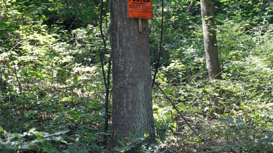 No trespassing sign is posted on a tree on the property near the home of Dr. Jan Casimir Seski, in Murrysville, Pa., on Sunday, Aug. 2, 2015. Zimbabwe's National Parks and Wildlife Management Authority accused Seski of illegally killing a lion with a bow and arrow in April near Zimbabwe's Hwange National Park, without approval, on land where it was not allowed. (AP Photo/Keith Srakocic)