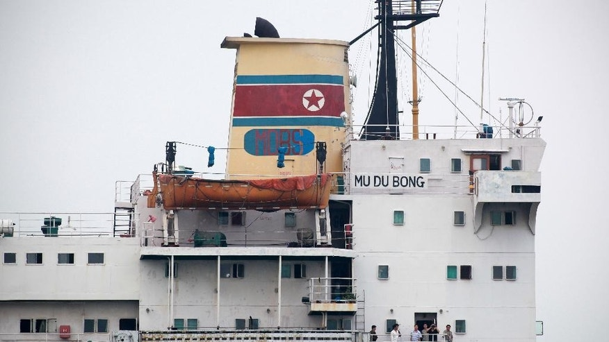 In this April 9, 2015 photo, the North Korean cargo ship Mu Du Bong sits anchored in the port of Tuxpan, Mexico, after it accidentally ran aground off Mexico in July 2014. Despite North Korea's protests, a panel of experts that monitors U.N. sanctions against Pyongyang for its nuclear and missile programs asked the Mexican government not to release the boat. North Korean diplomats have said the ship was carrying nothing prohibited by sanctions. (AP Photo/Felix Marquez)