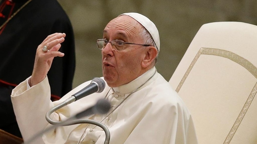Pope Francis delivers his speech during a meeting with Youth Eucharistic Movement in the Paul VI hall at the Vatican, Friday, Aug. 7, 2015. (AP Photo/Gregorio Borgia)