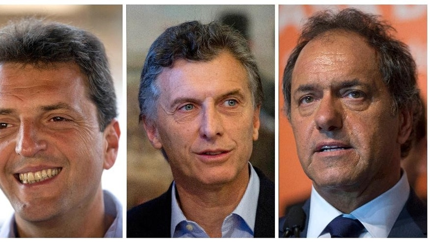 FILES - In this combo of three file photos taken in Buenos Aires, Argentina shows three presidential candidates, from left, lawmaker Sergio Massa speaks during an interview on Oct. 28, 2013, Buenos Aires' Mayor Mauricio Macri attends a meeting on Sept. 3, 2013, and Buenos Aires' Governor Daniel Scioli talks to journalists on Dec. 10, 2014. These three leading candidates are running in the Sunday, Aug. 9, 2015 open presidential primary election, largely a trial run for the men, as they've all but won their respective nominations. (AP Photo/Natacha Pisarenko, Files)