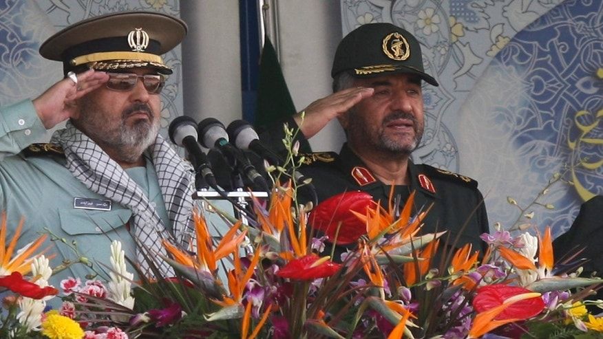 Sept. 22, 2011: Iran's Armed Forces Chief of Staff Hassan Firouzabadi (L) and Revolutionary guards commander Mohammad Ali Jafari salute during a parade to commemorate the anniversary of the Iran-Iraq war.
