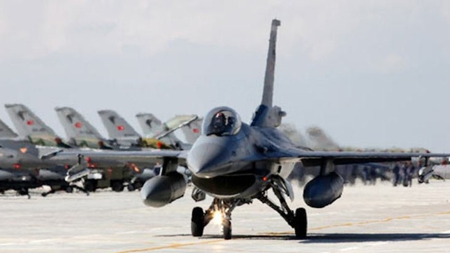 A Turkish Air Force F-16 jet fighter prepares to take off from an air base in this file photo taken in Konya.
