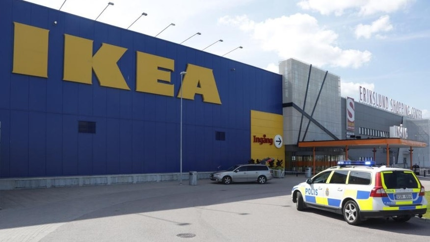 Aug. 10, 2015: Police officers attend the Ikea store in Vasteras, Sweden.