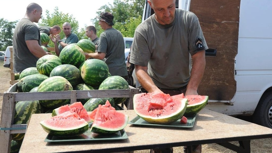 A Hungarian soldier slices water melons as his comrades unload the fruits from a van near the construction site of the border fence near Morahalom, 179 kms southeast of Budapest, Hungary, Tuesday, Aug. 11, 2015. Hungarian farmers who say their crops have been damaged by migrants trampling through their fields treated soldiers building a fence on the border with Serbia with watermelons and other fruits to help offset the high temperatures. (Zoltan Gergely Kelemen/MTI via AP)