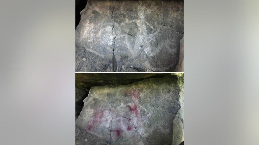 Vandals spray paint pre hispanic petroglyphs in mexico