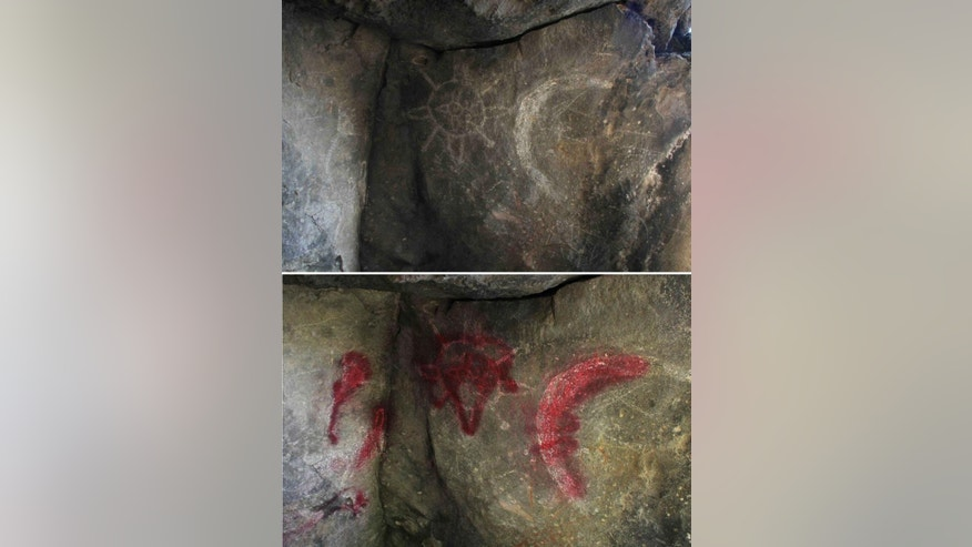 In this combination of photographs provided by the press office of Totolac, pre-Hispanic rock carvings of a celestial sky, on the ceiling of a cave near Totolac, Mexico are shown on Dec. 29, 2013, top, and again on Aug. 5, 2015, after being defaced. Mexican authorities opened an investigation Tuesday, Aug. 11 into the spray-painting of a pair of pre-Hispanic petroglyphs in a cave in central Mexico. (J. Guadalupe Perez/Totolac Municipality Press Office via AP)